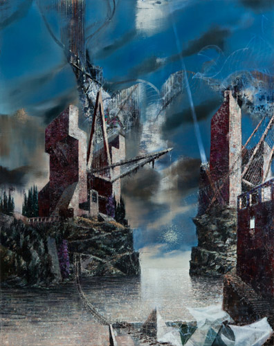 No Bridge No Fear · 175 × 140 cm - Painting by Michael Kunze